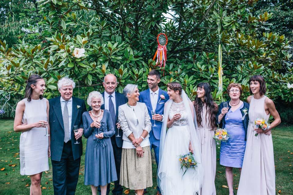 bohemian wedding group shot