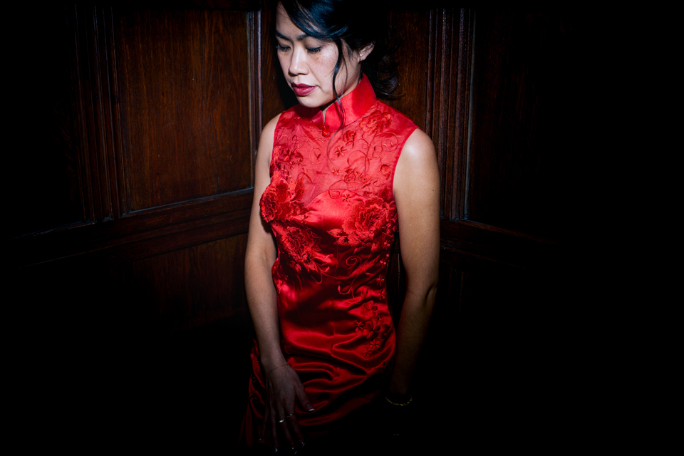 Bride wearing Red Chinese dress