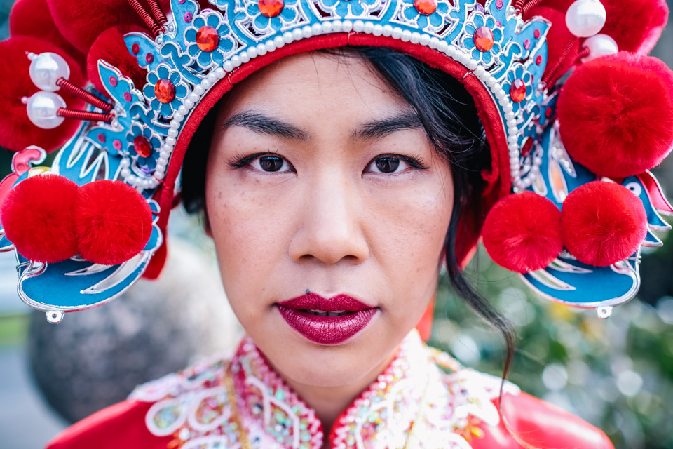 red lipstick on Chinese bride