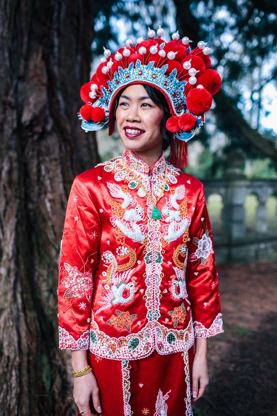chinese bride on her wedding day