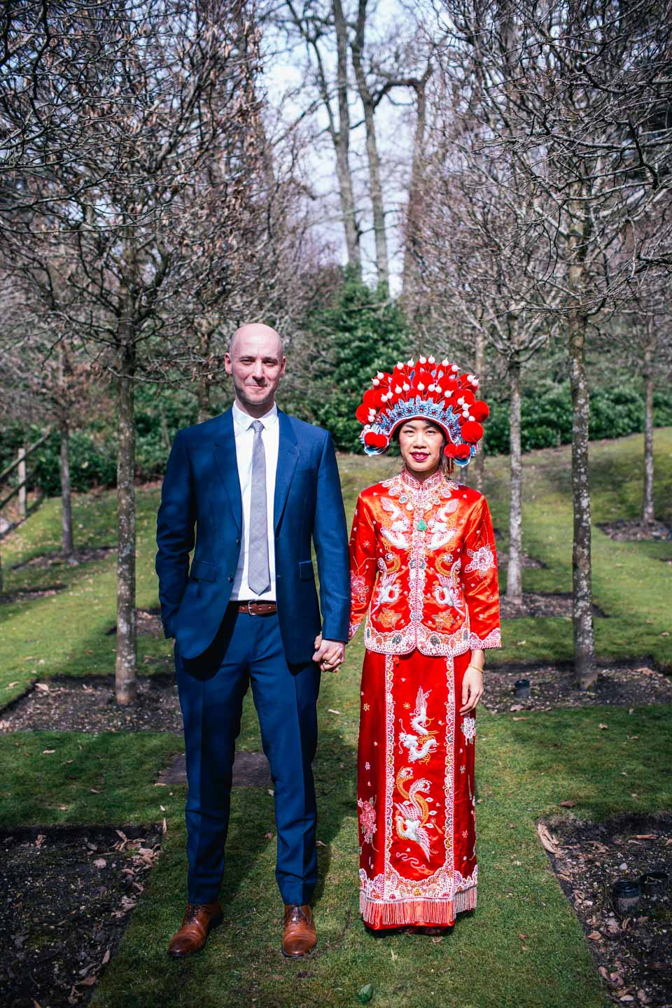 bride and groom in traditional Chinese wedding outfits
