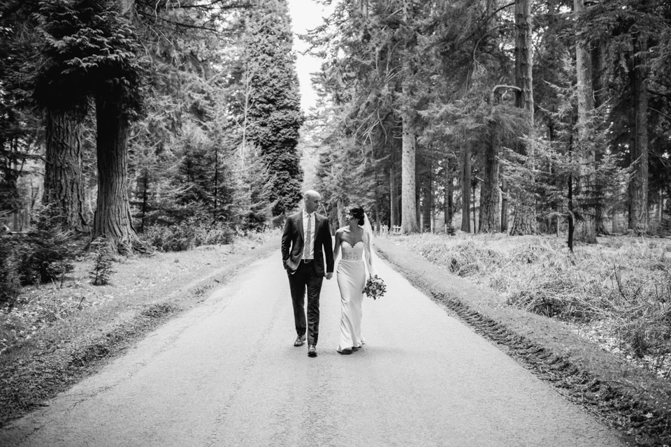 Bride and Groom in the New Forest Hampshire walking together