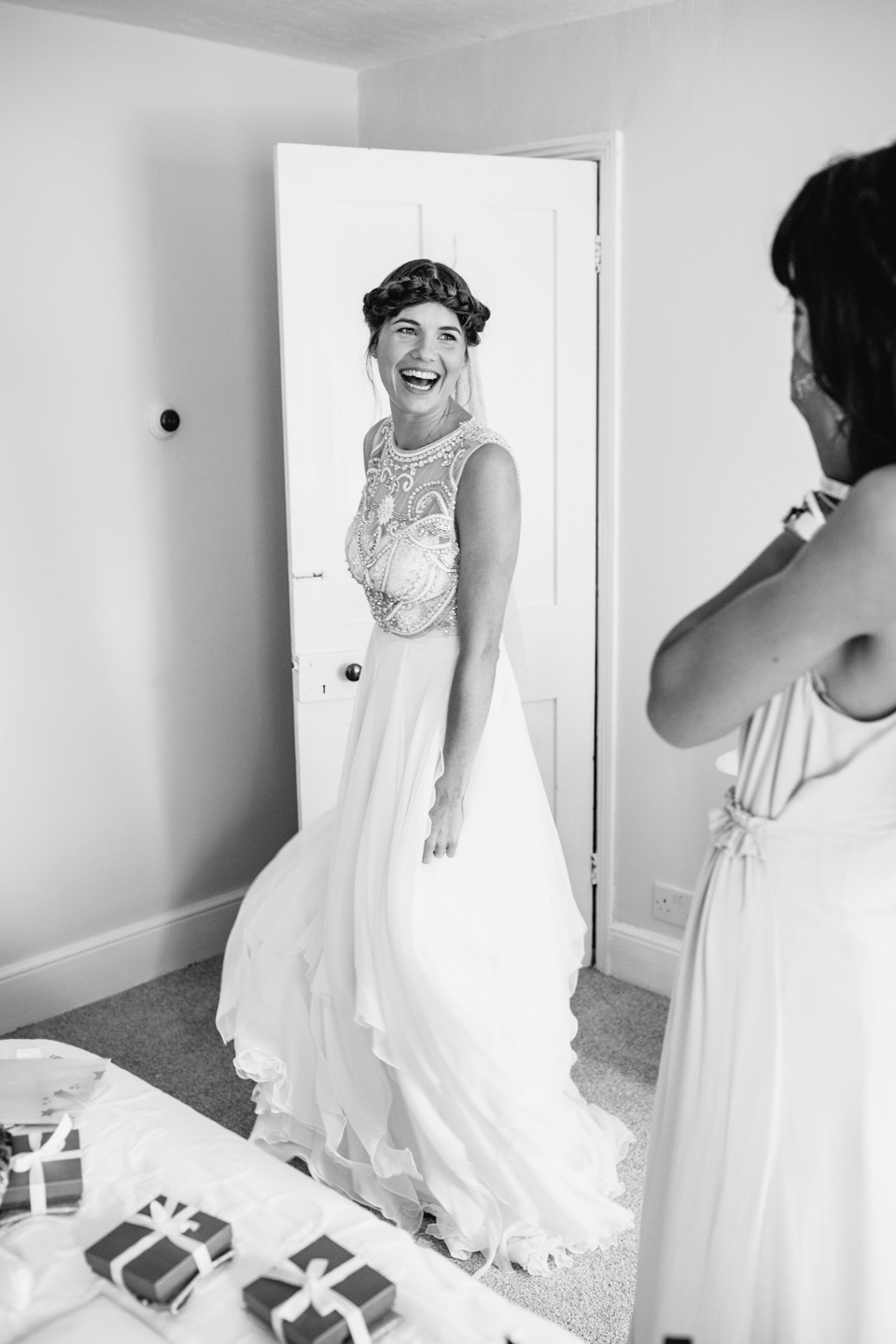 excited bride ready in her dress