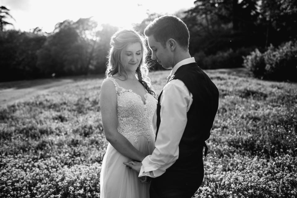 couple in sunshine at compton verney wedding venue