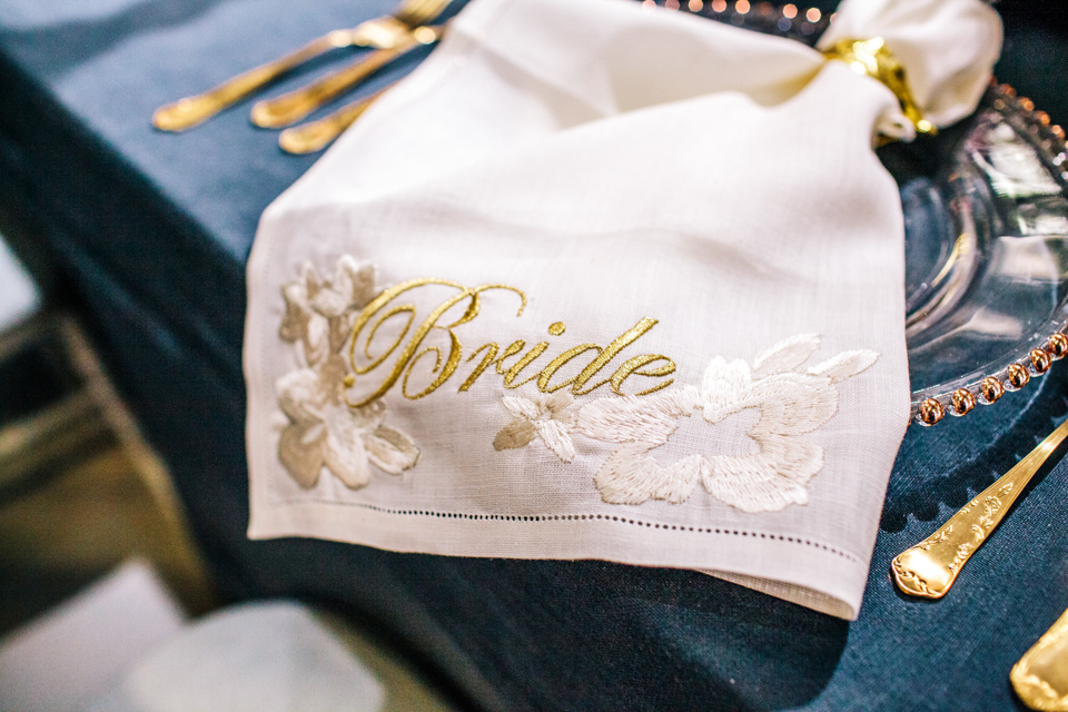 embroidered napkin for bride