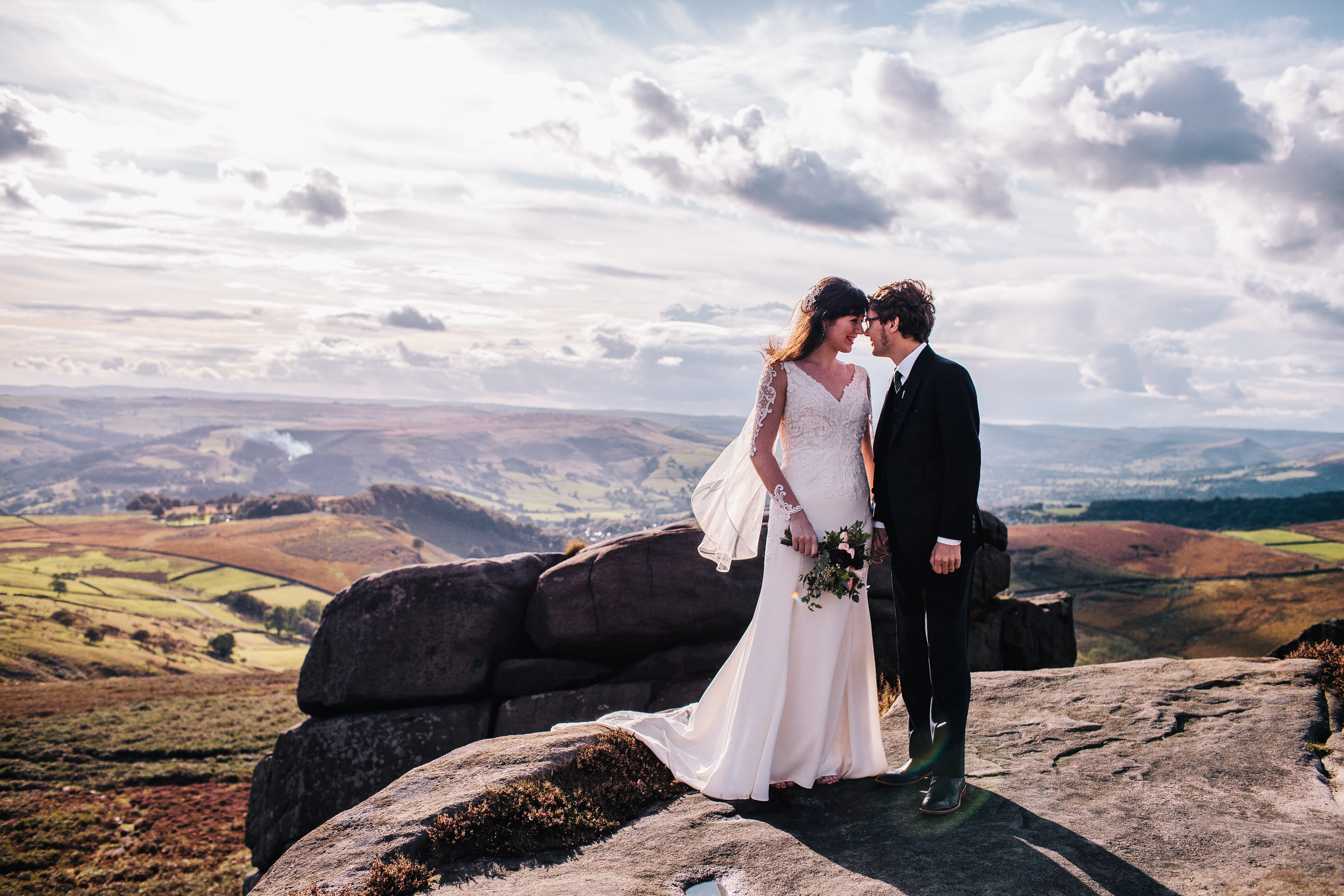 bride and groom couple portrait in the peak district