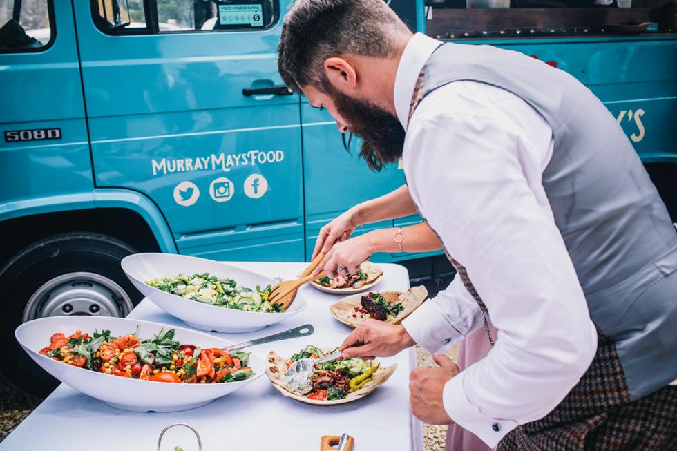 Murray May's Kebab Van as main wedding food at fun festival wedding