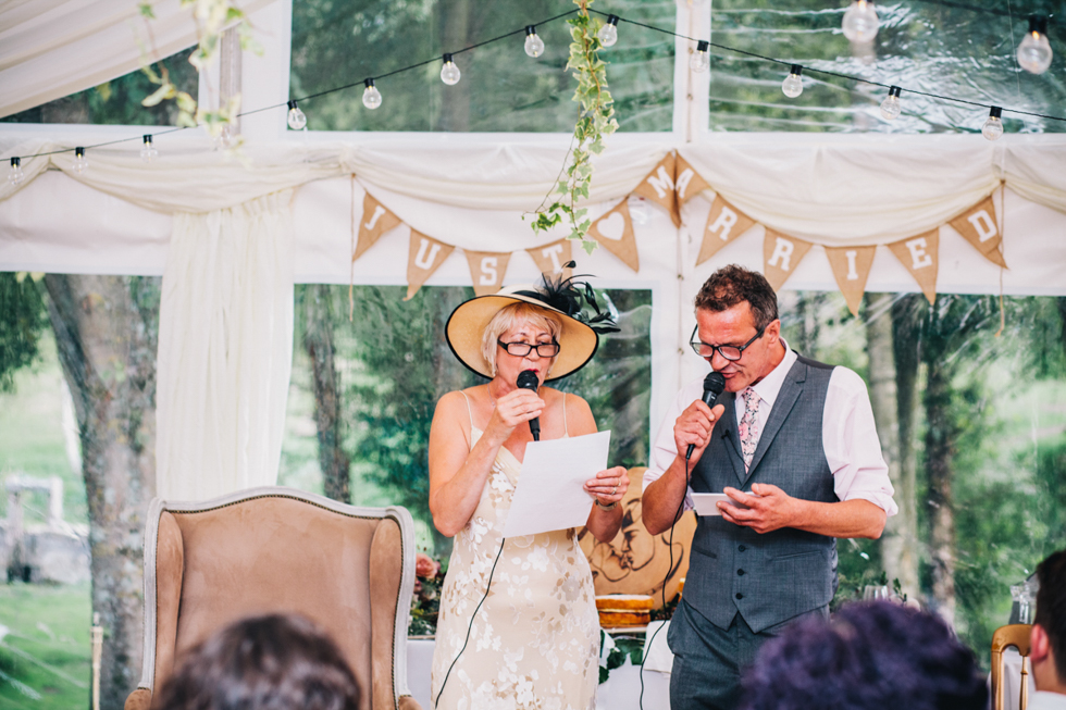 funny and quirky wedding parent speeches at Owlpen Manor