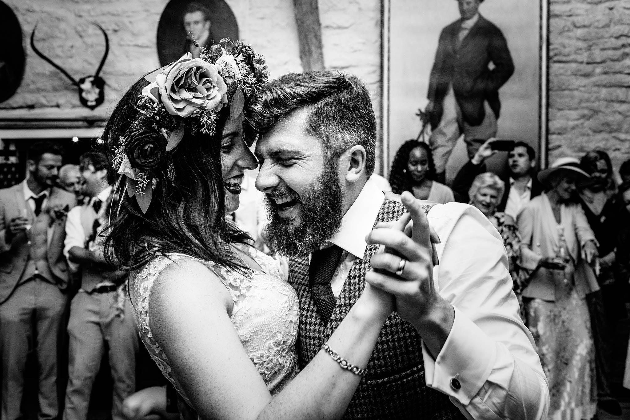 bride and groom laughing at their first dance