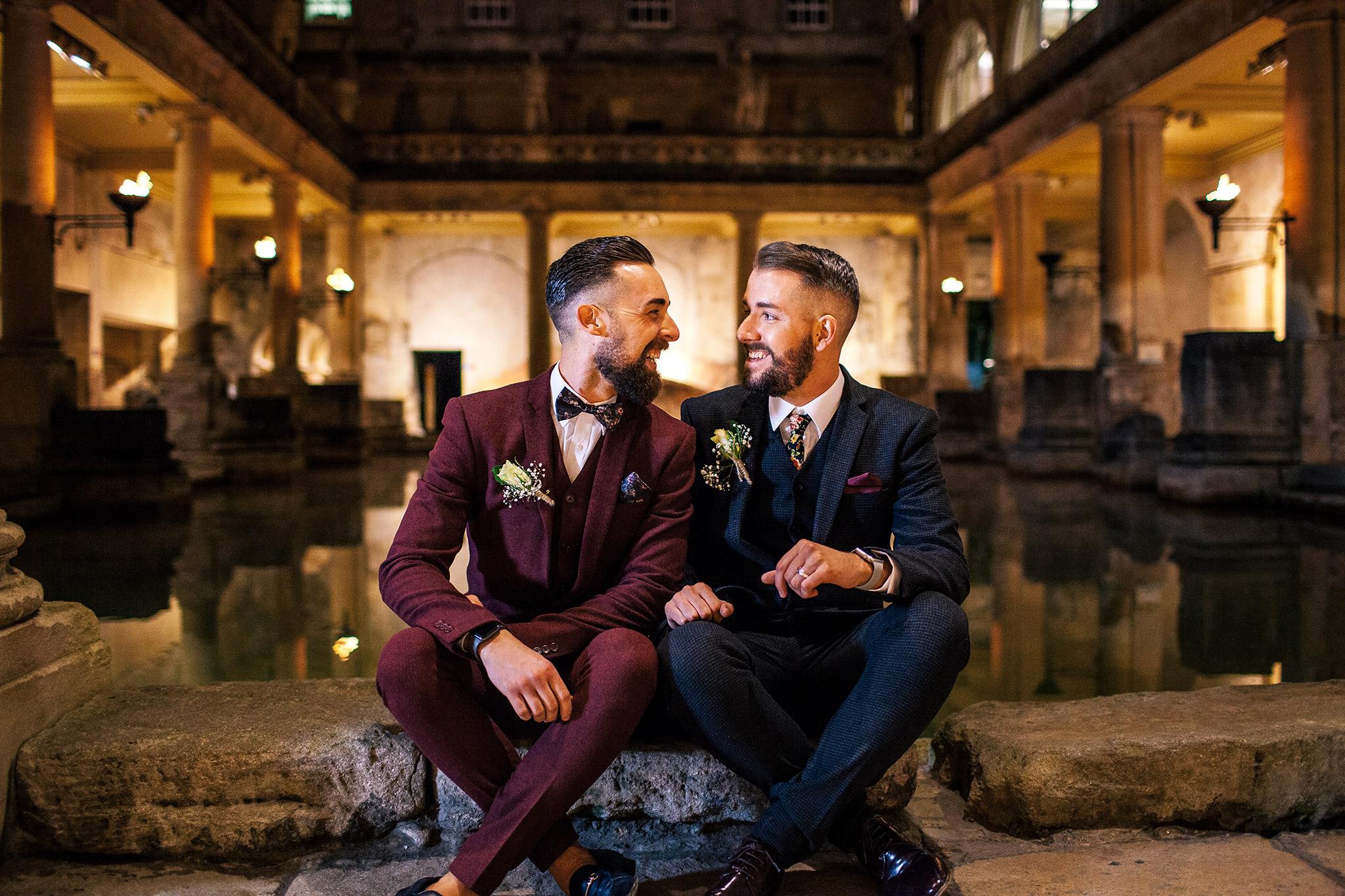 gay wedding couple at Roman baths