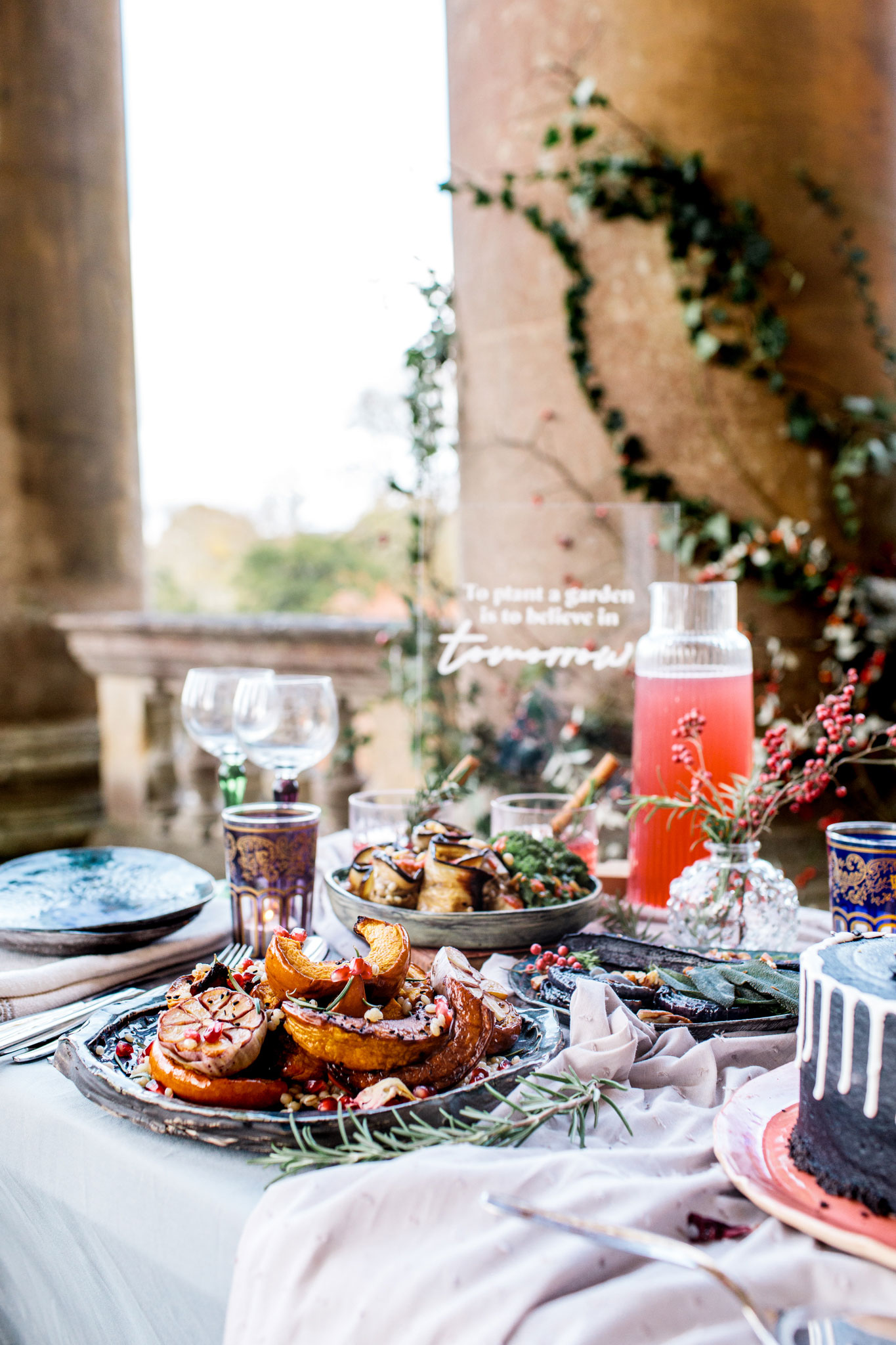 small grazing table setup for two in bath for an elopement wedding