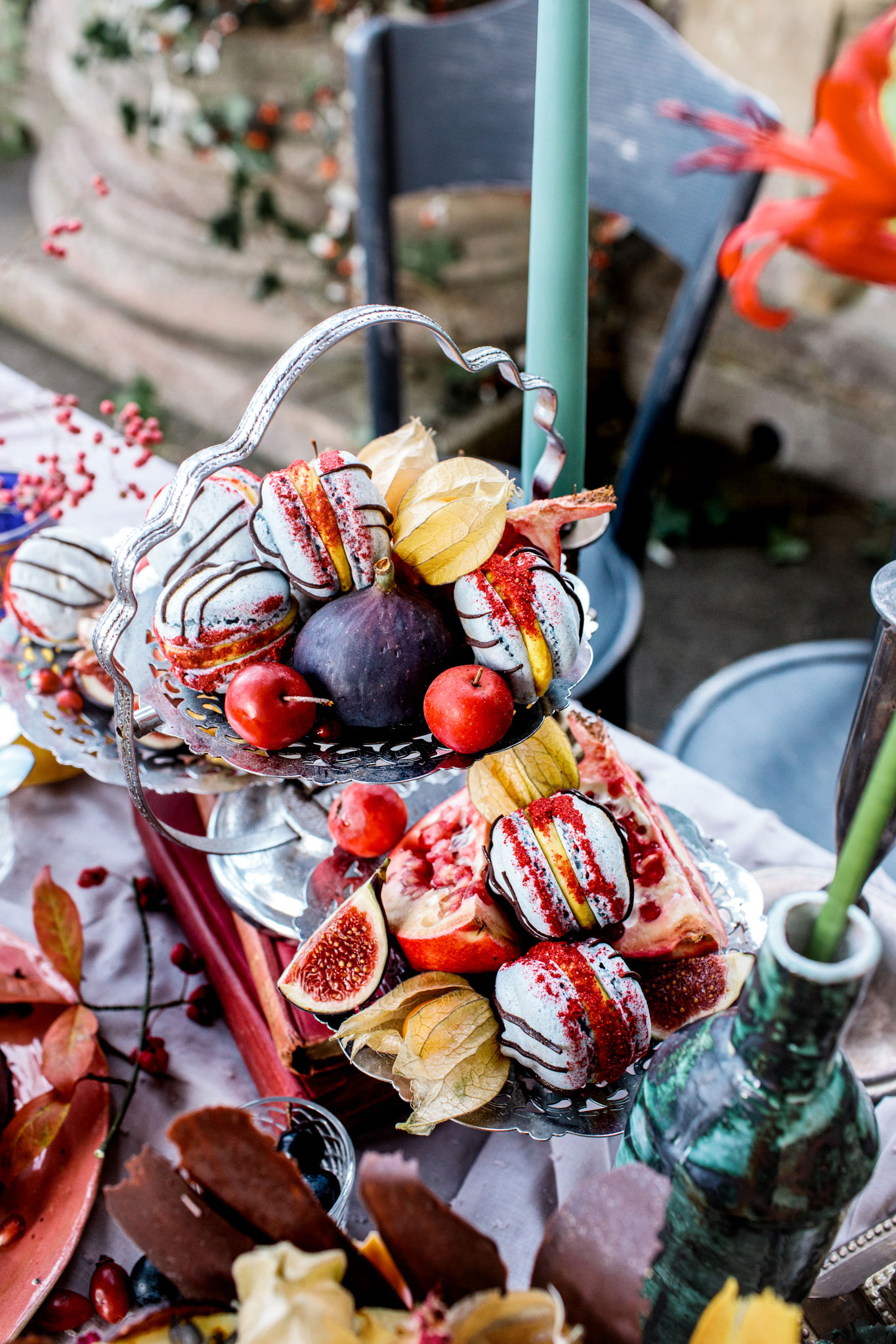vegan macaroons on small wedding table setup in bath