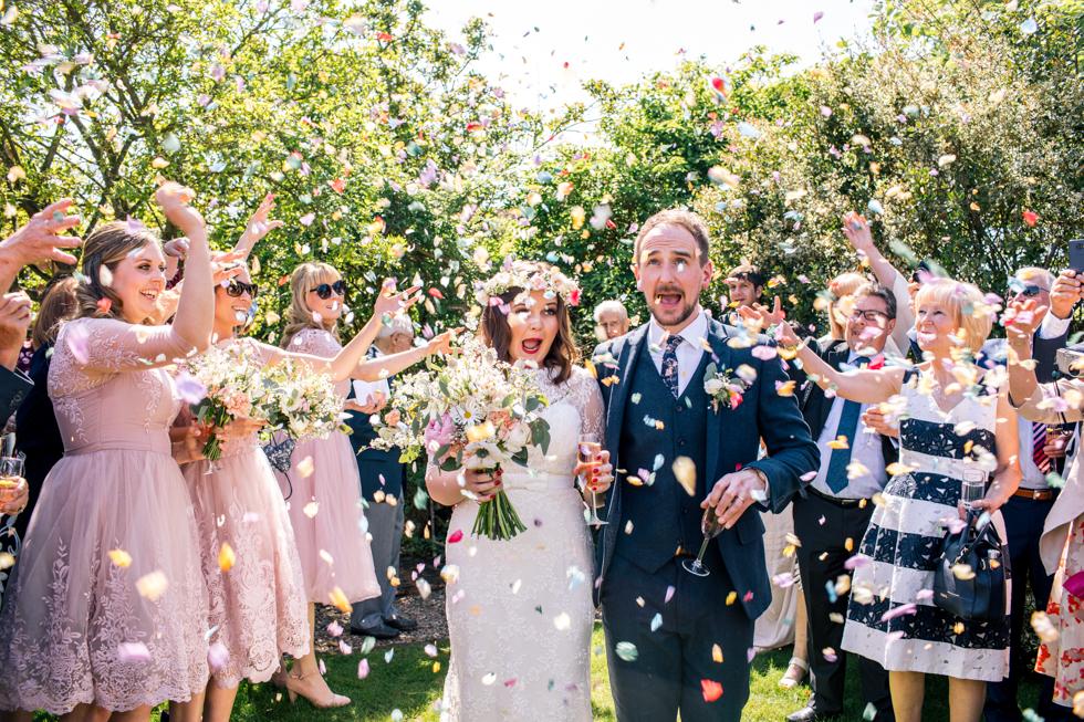 funny confetti faces using fresh petals for confetti
