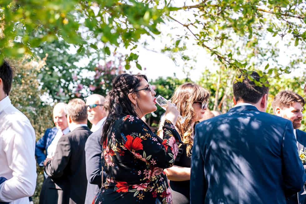 guests enjoying champagne reception at Curradine Barns