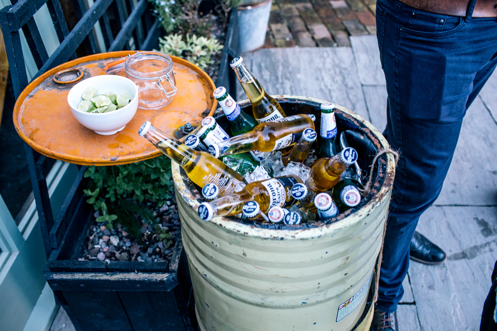 barrel of cold beer at Curradine Barns