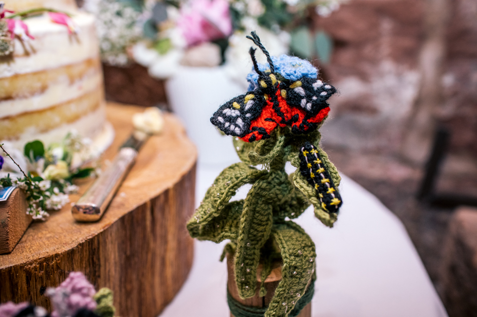 crocheted woodland butterfly for home made details at Curradine Barns wedding