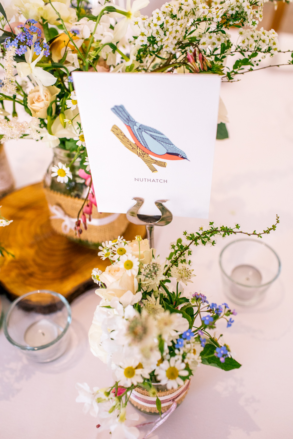 woodland bird illustration for table numbers at the Curradine barns