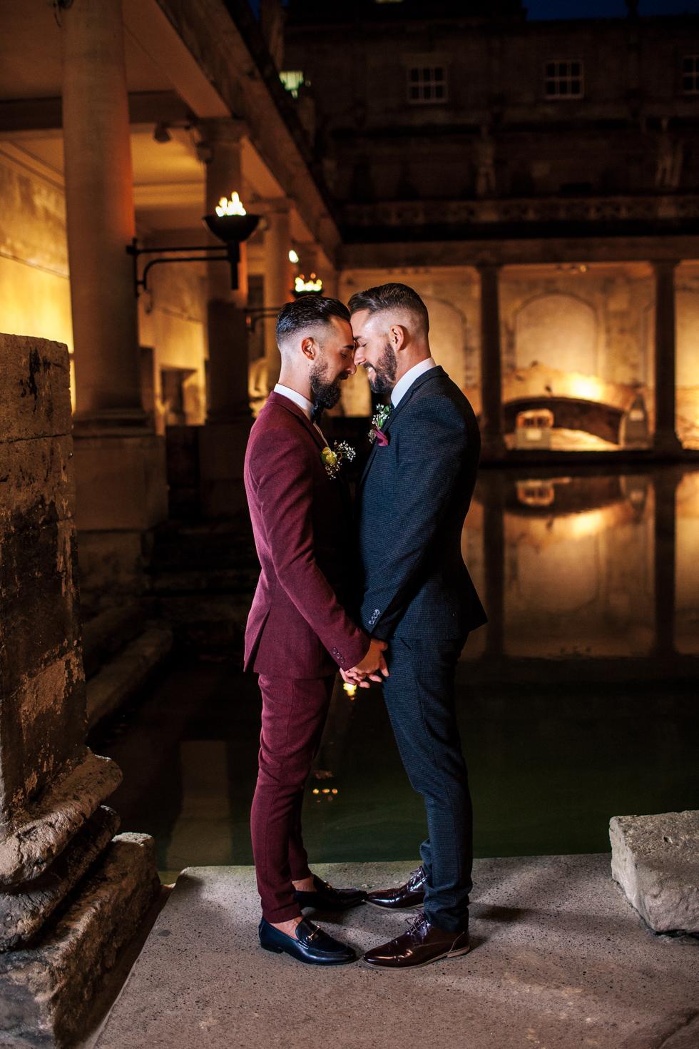 gay couple portrait at the Roman baths