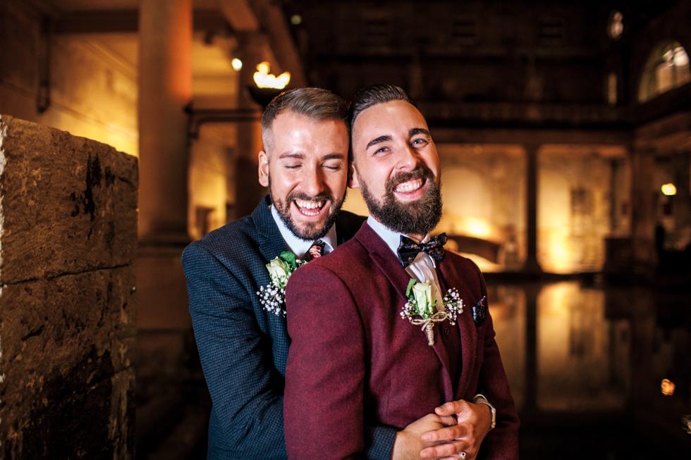 same sex marriage at the Roman baths twilight wedding