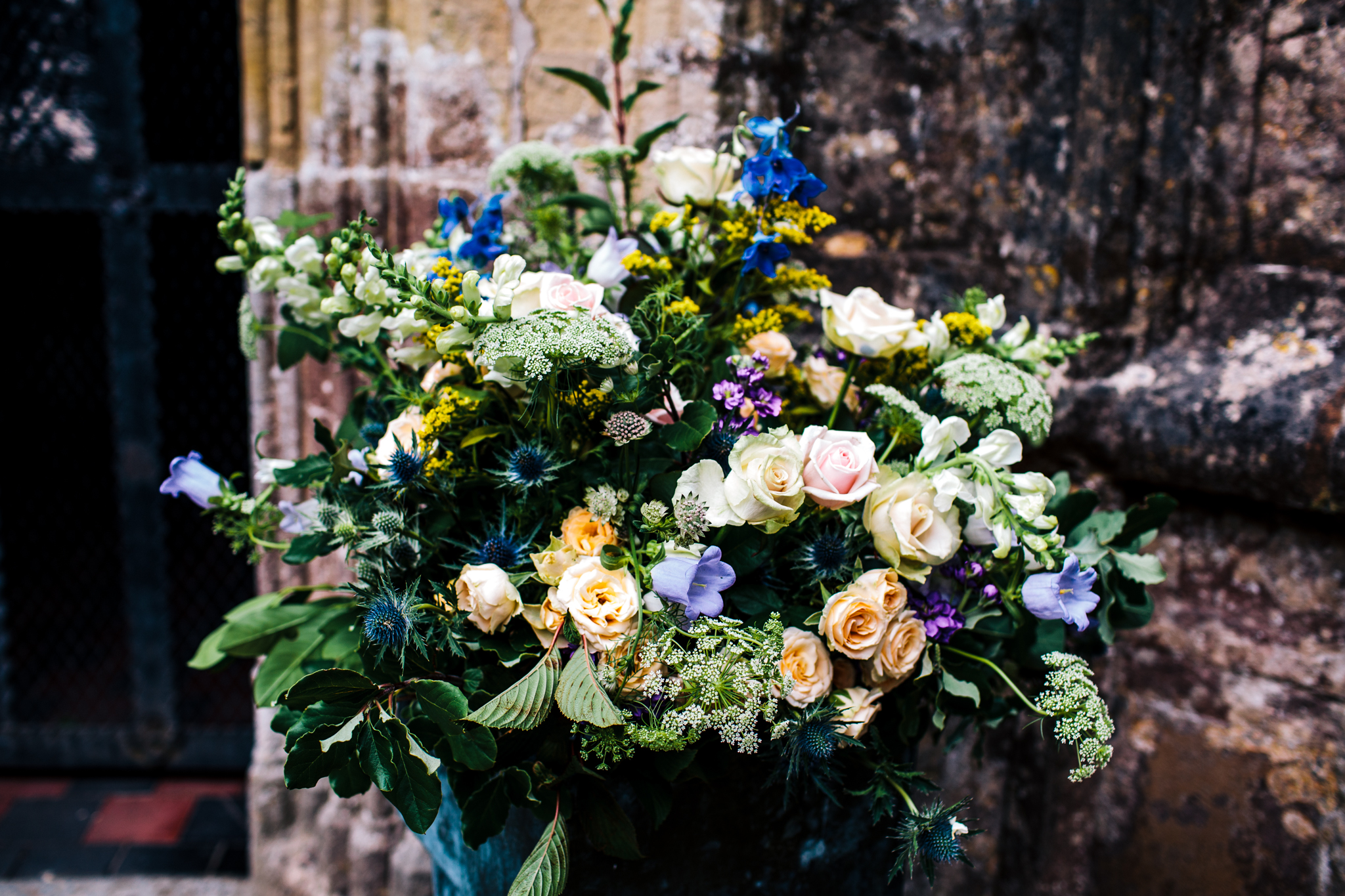 huge floral display outside St.Andrews church in mells, near frome