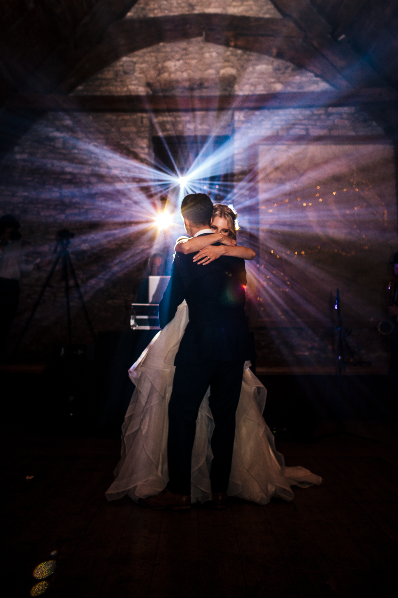 bride and groom first dance in the tythe barn Mells