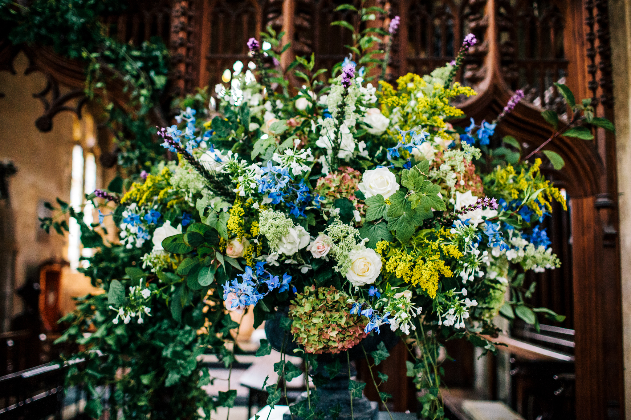 huge floral display inside St.Andrews church in Mells, near frome
