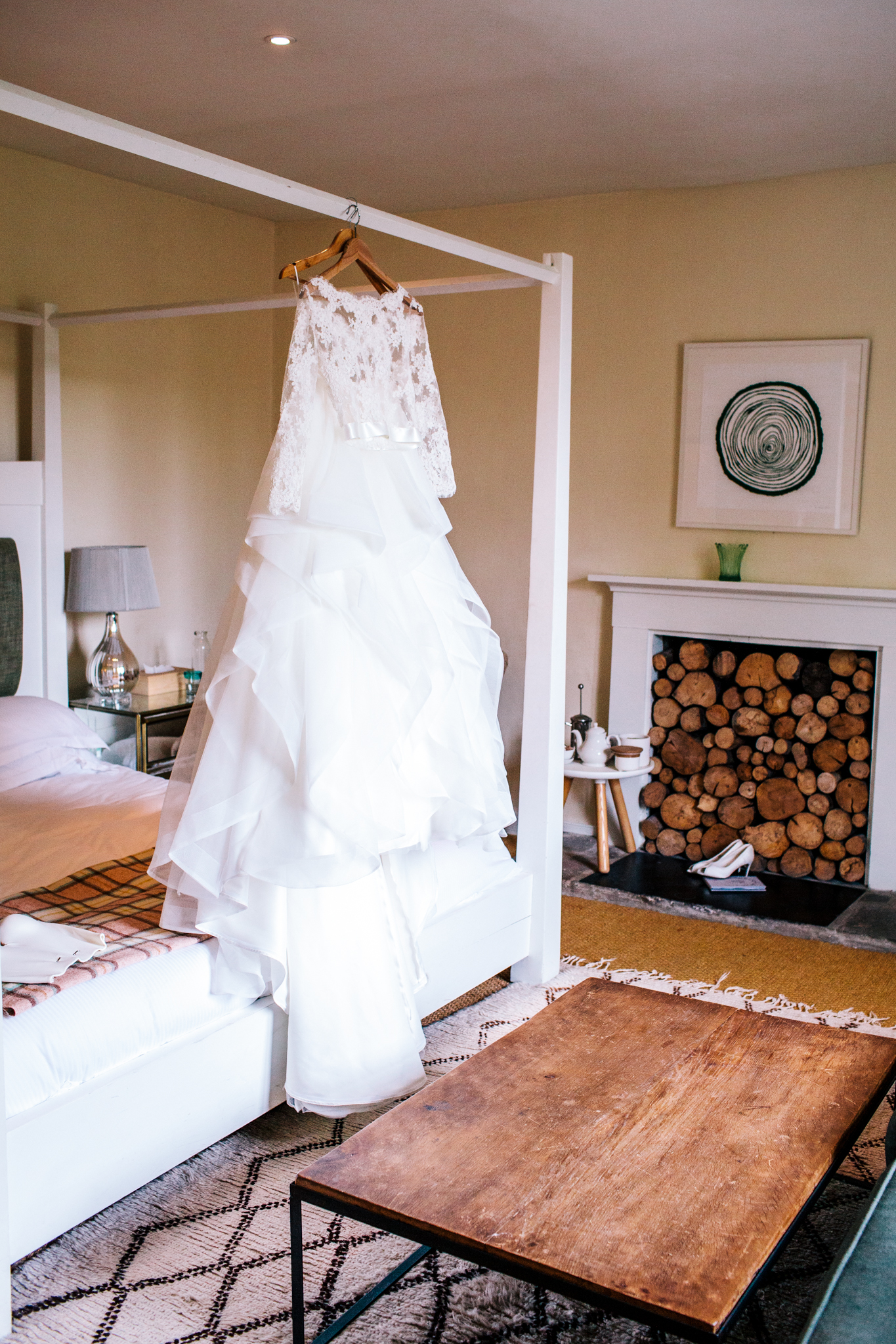 bridal separates hung on wall for photograph at the Talbot Inn in Mells