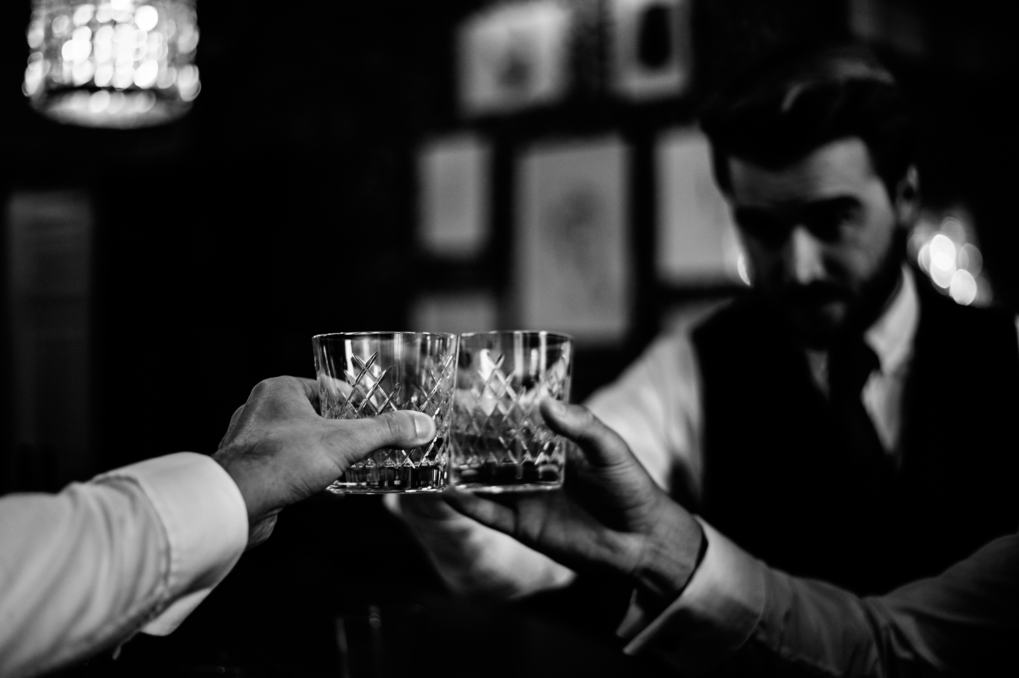 Groom and Best Man drinking at Babbington House