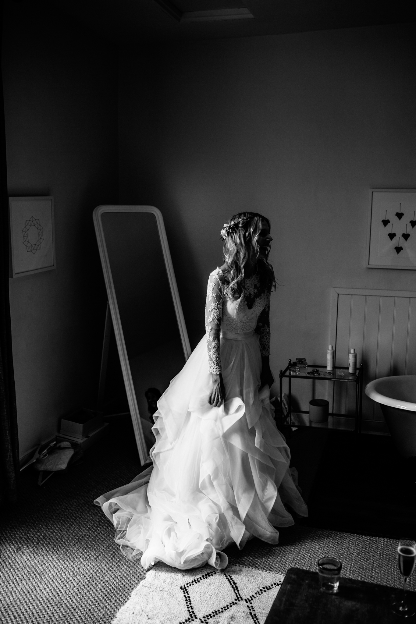 black and white bridal portrait at the Talbot inn at Mells