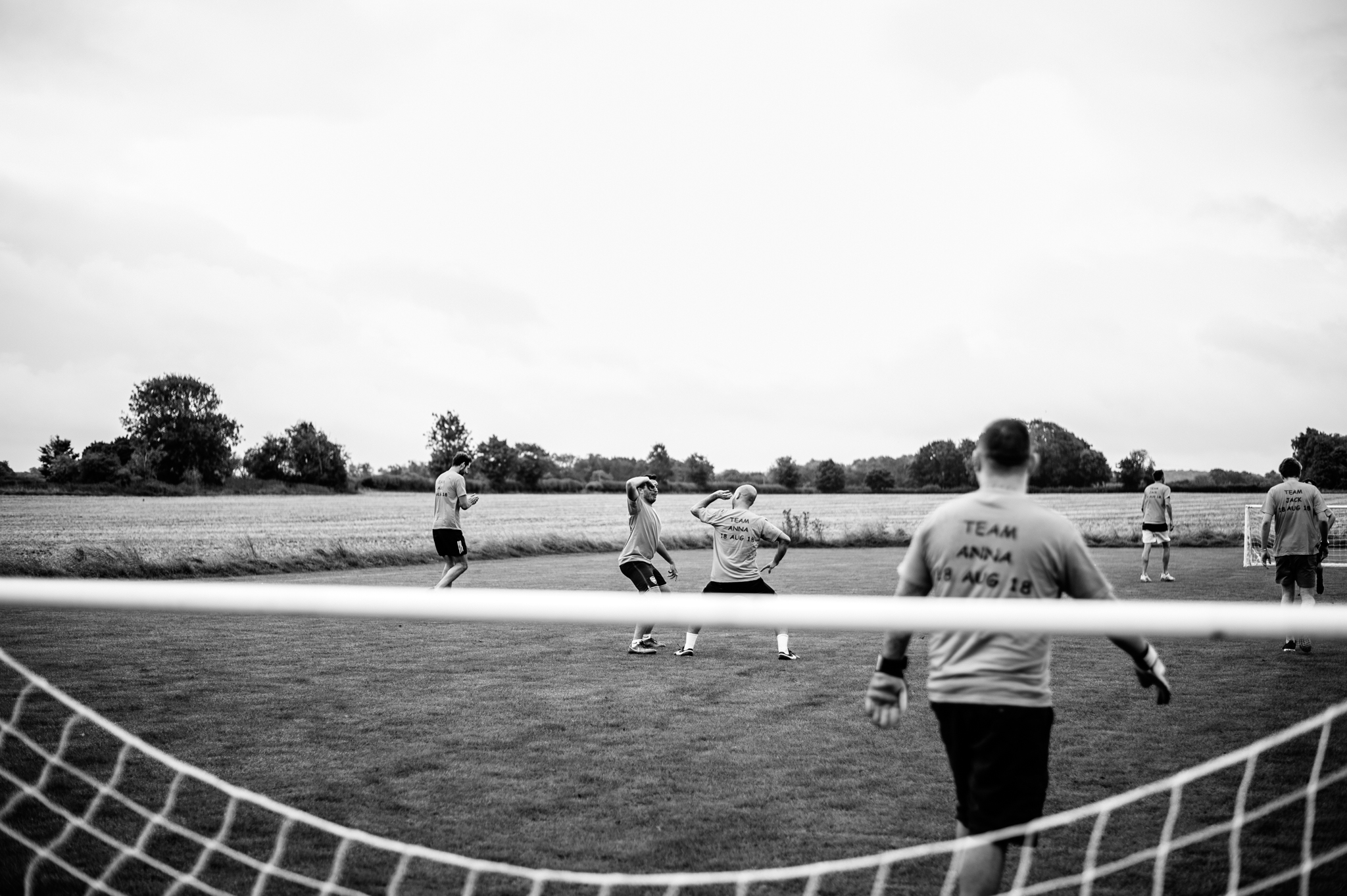 fun football match with two families before wedding at babbington house