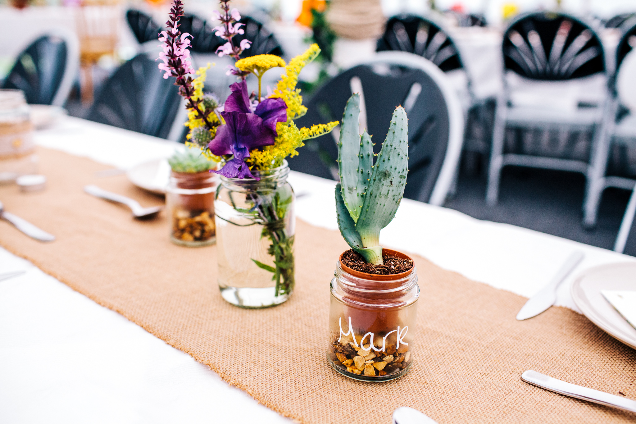 home-made succulent favours at Mells walled garden