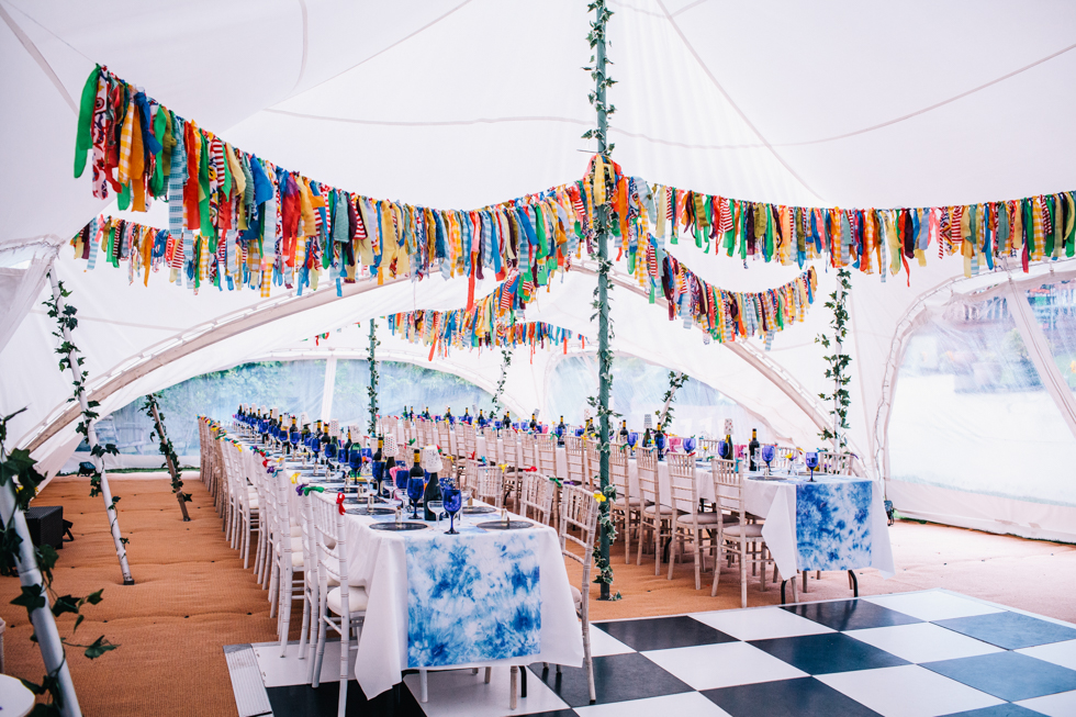 festival wedding with rag bunting and tie-dye table spreads