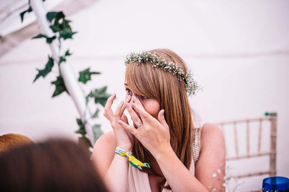 grooms sister crying at grooms speech at festival wedding