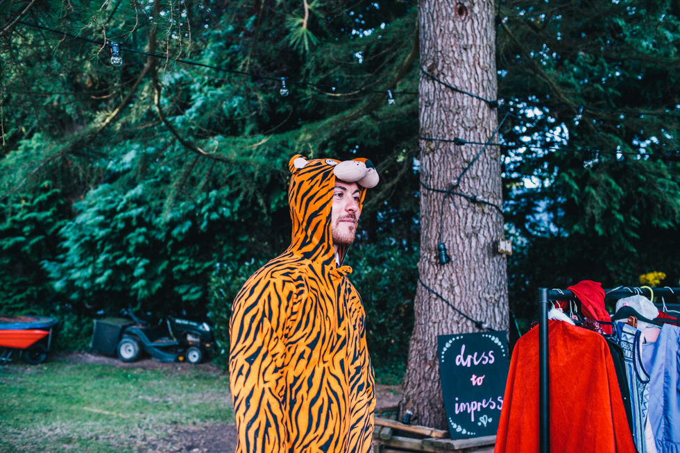 wedding guest dressed in tiger outfit for wedding reception