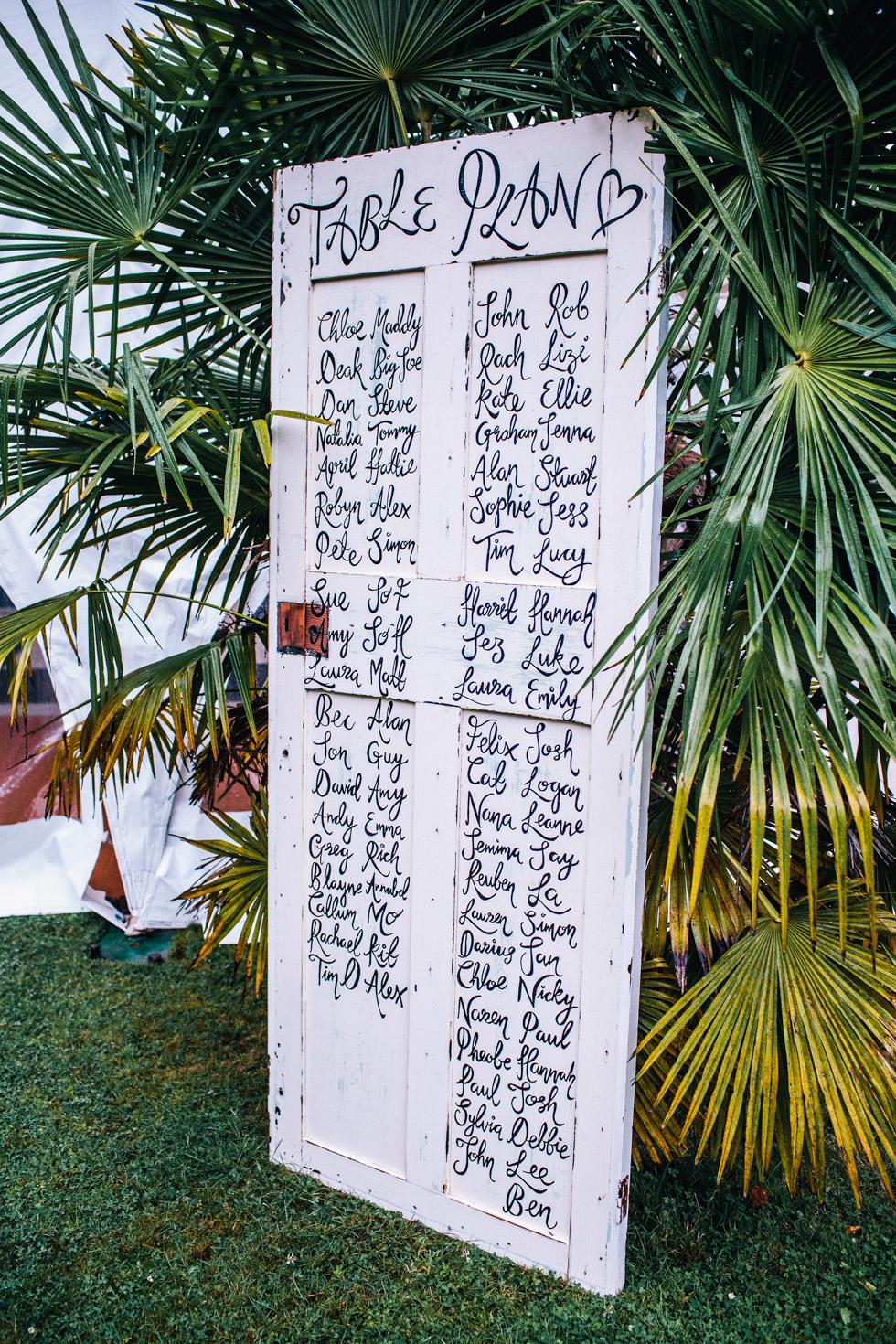 table plan hand written in calligraphy on old wooden door