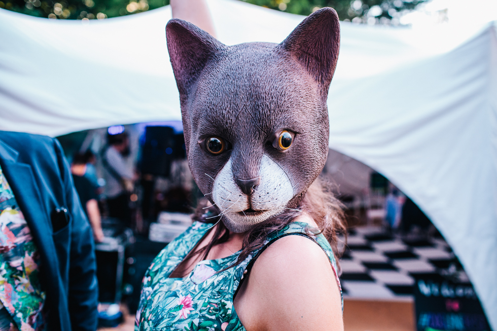 wedding guest dressed up in cat face mask at evening celebrations