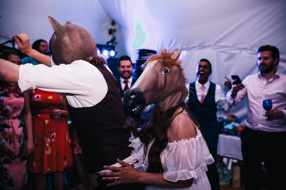 crazy evening dancing to a live band at an amazing festival wedding