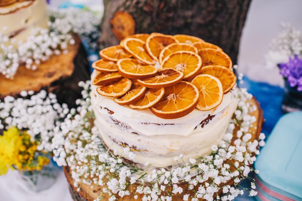 homemade orange cake at festival wedding