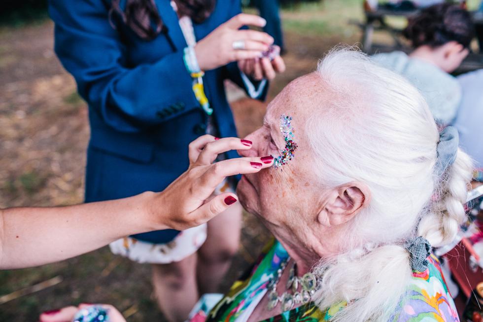 nan at glitter bar at festival outdoor wedding