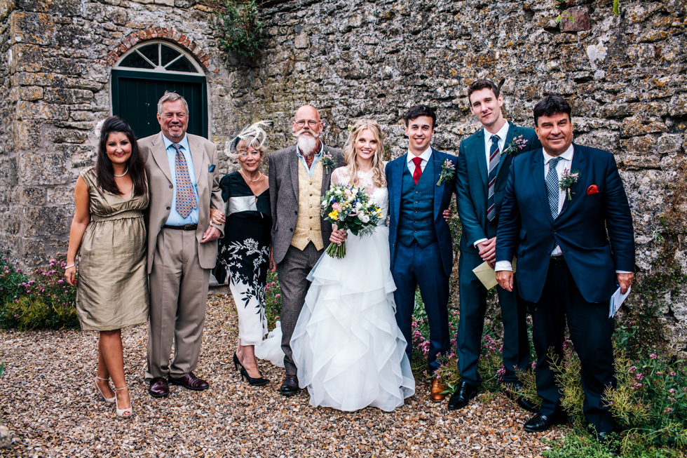Group portraits at walled garden Mells