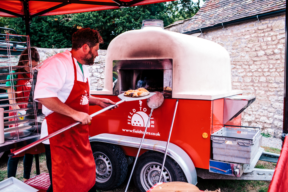 stone baked pizza van for wedding food at Mells walled garden