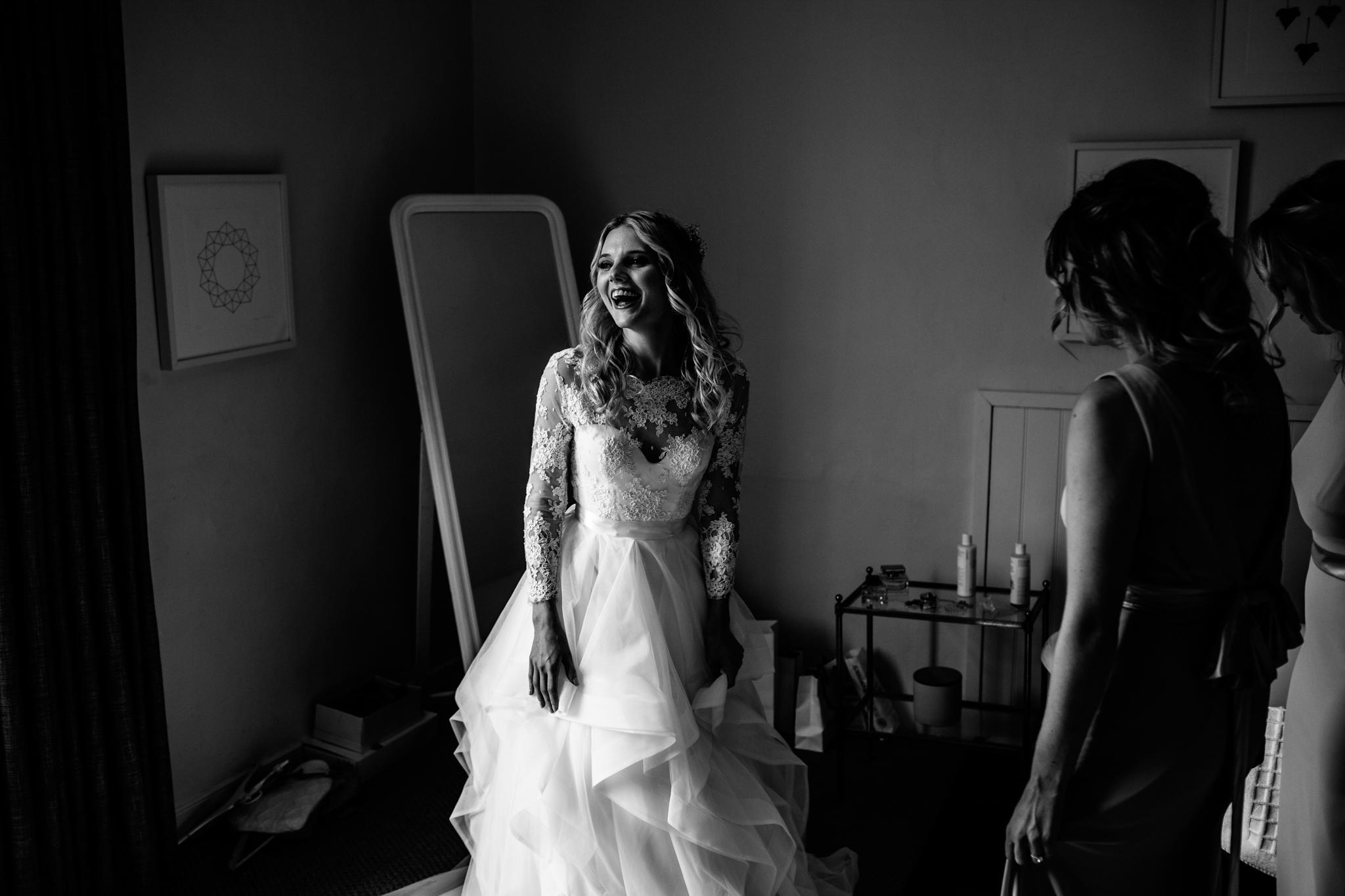 bride wearing amazing huge Hayley Paige dress in Mells near Frome